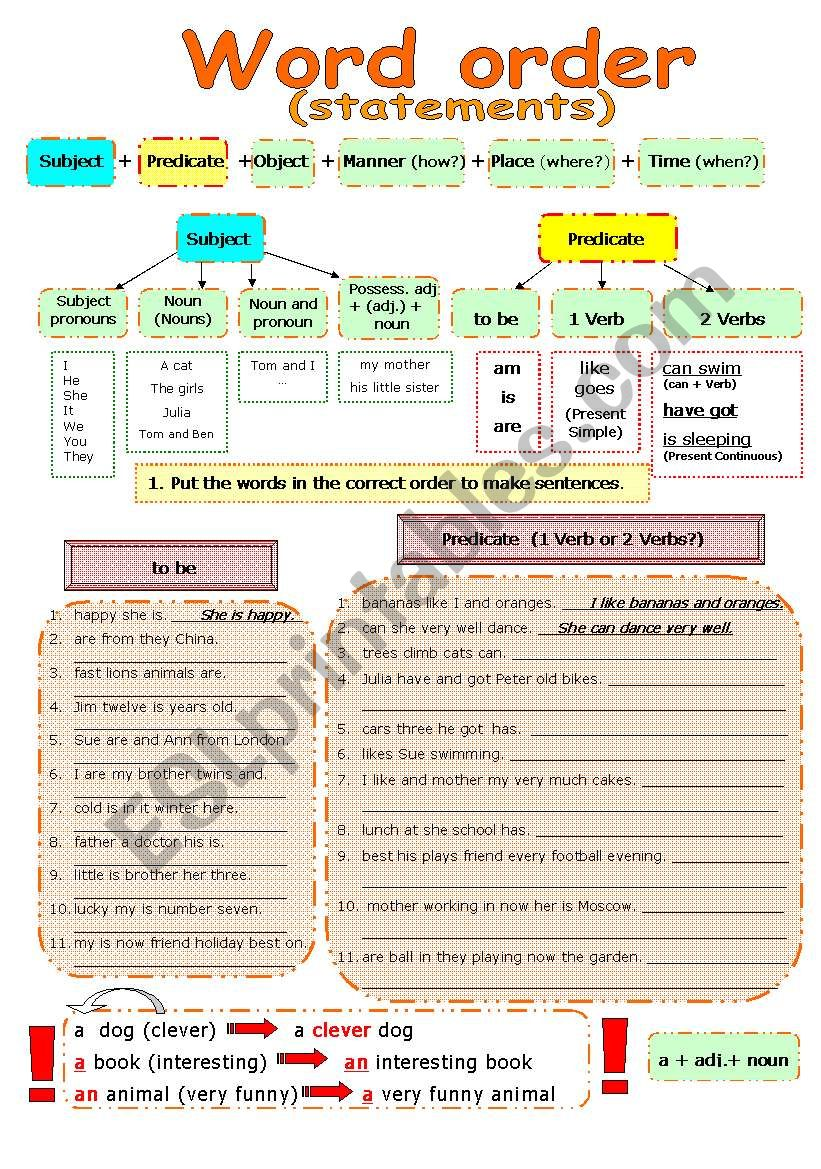 WORD ORDER in statements and questions - ESL worksheet by ...