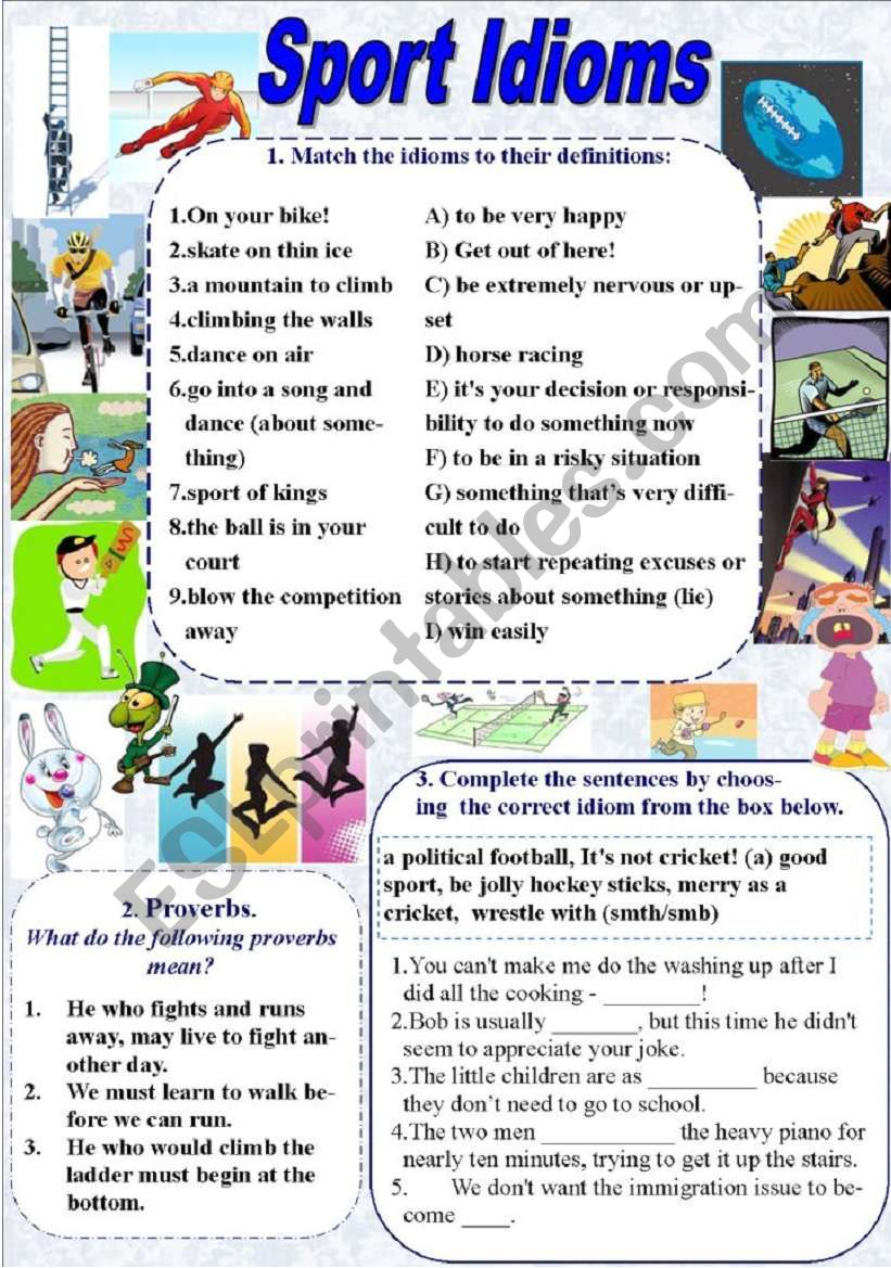 sport idioms and proverbs with keys esl worksheet by elfelena. Black Bedroom Furniture Sets. Home Design Ideas