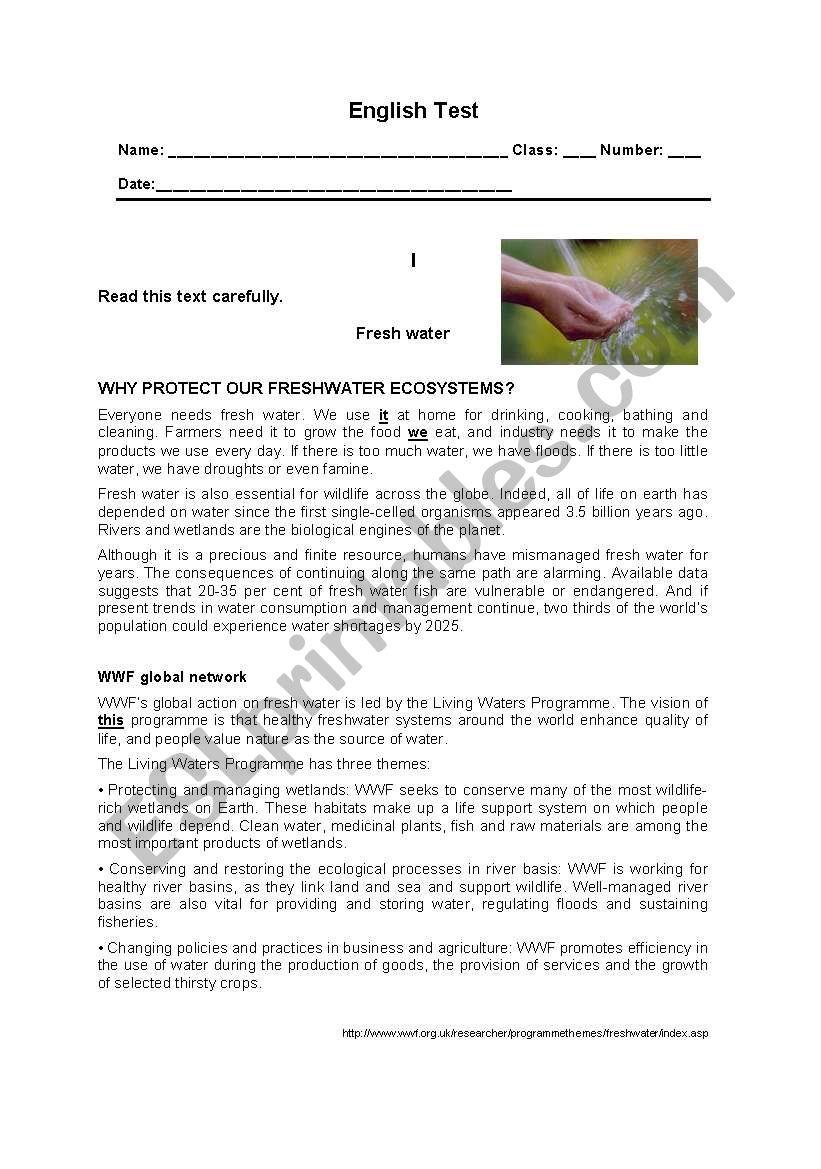 English Test - 11th grade - The Environment