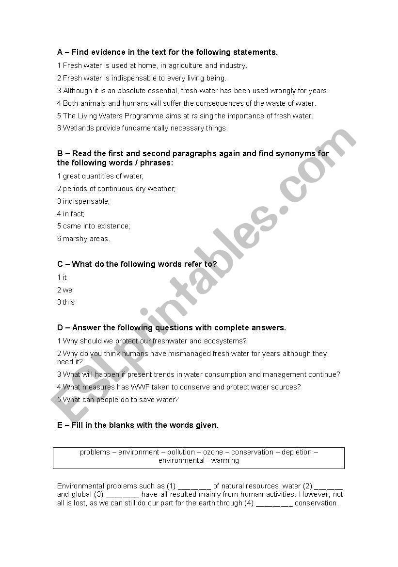 English Test - 11th grade - The Environment - ESL worksheet by Nannini