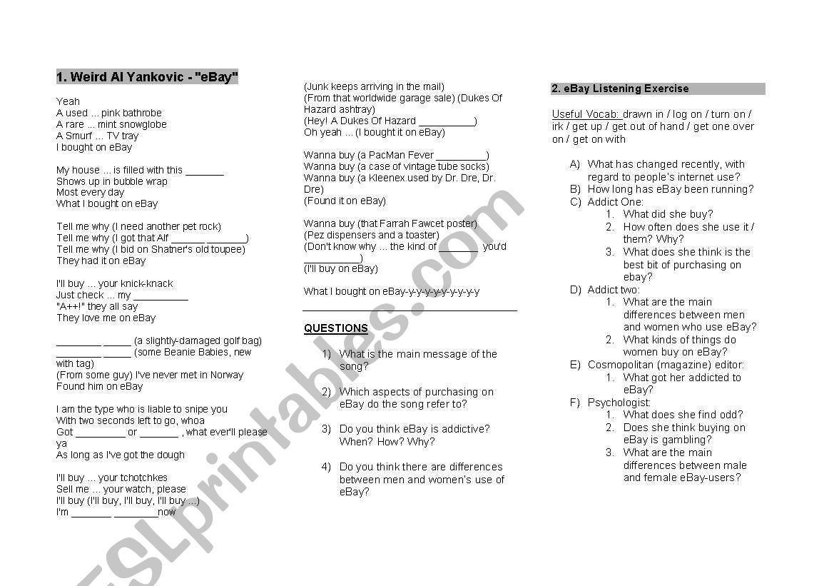 English Worksheets Advanced Listening Exercsie Discussion Questions About Ebay