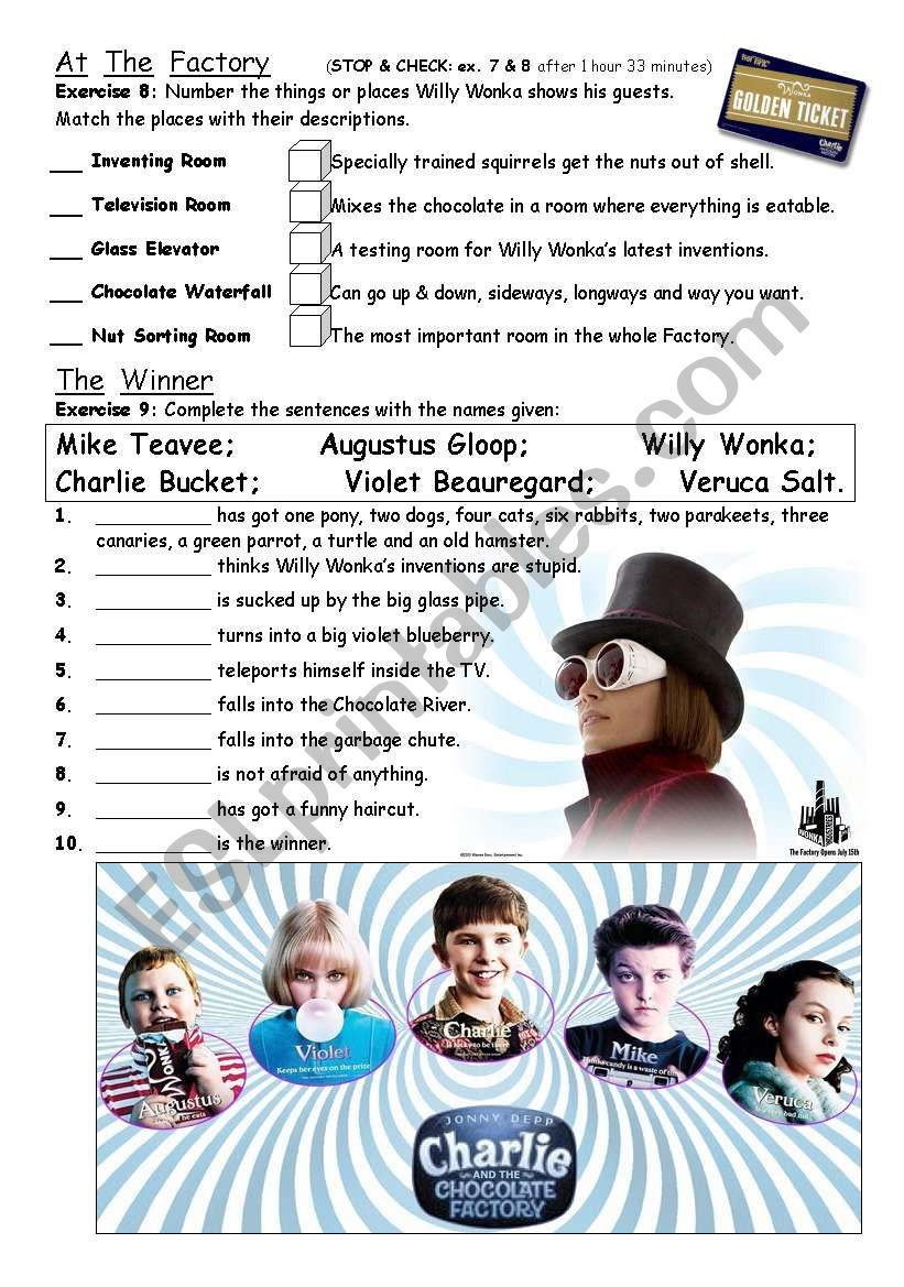 PART 4/4 Charlie & The Chocolate Factory - movie worksheet