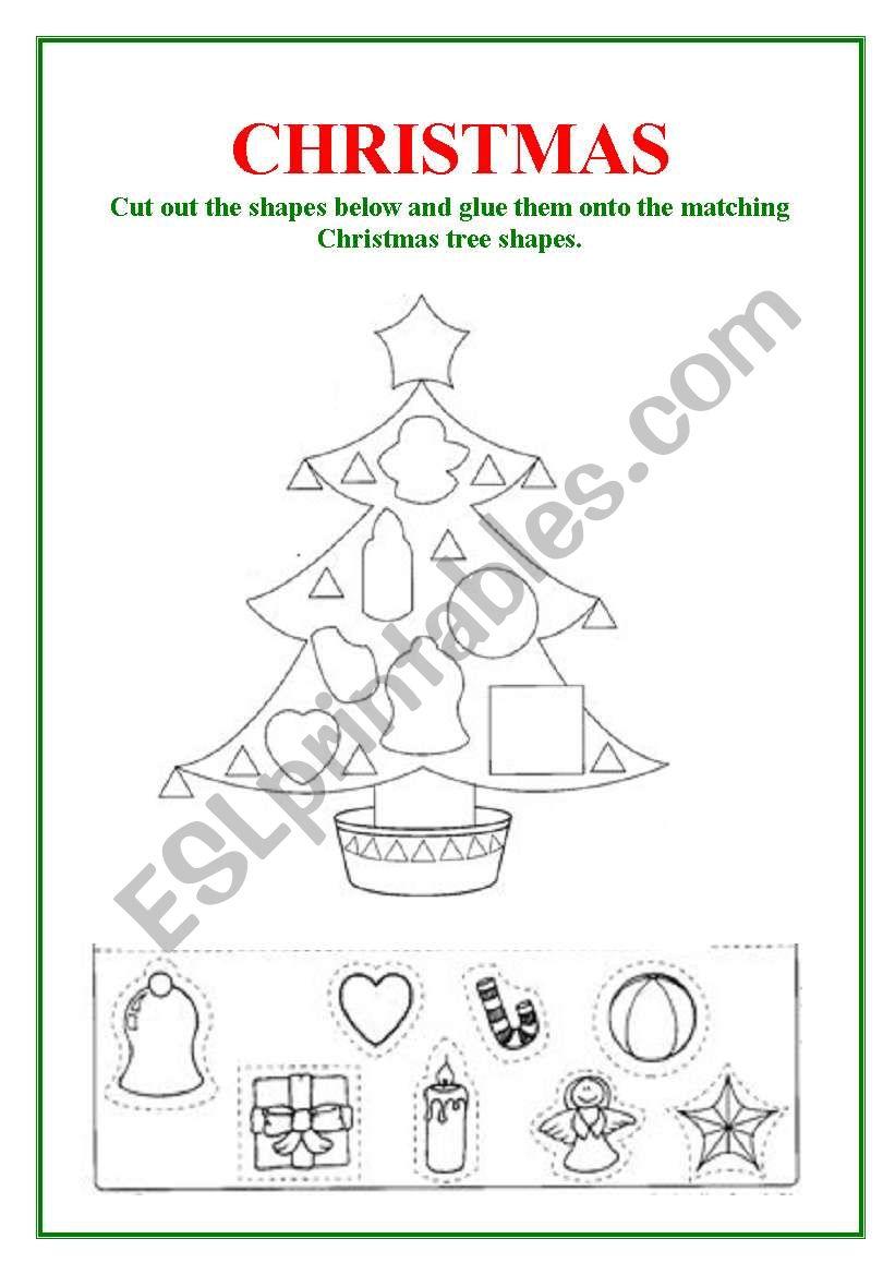 English Worksheets Shapes Christmas Tree