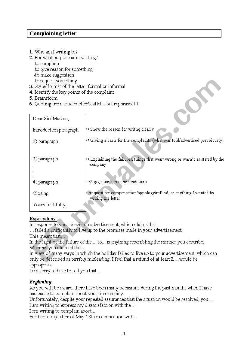 English Worksheets Complaining Letter Writing