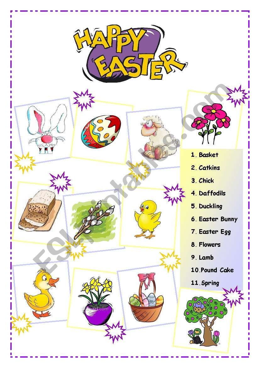 Easter vocabulary worksheet pdf