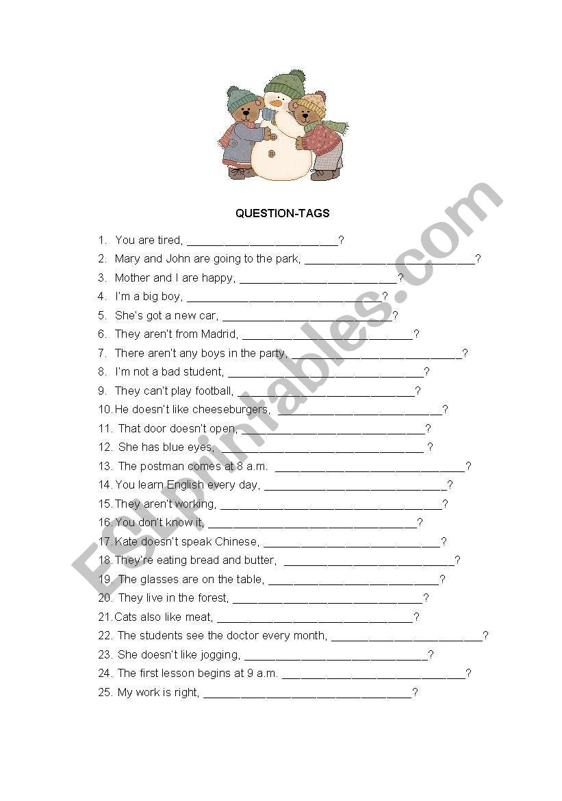 QUESTION-TAGS worksheet