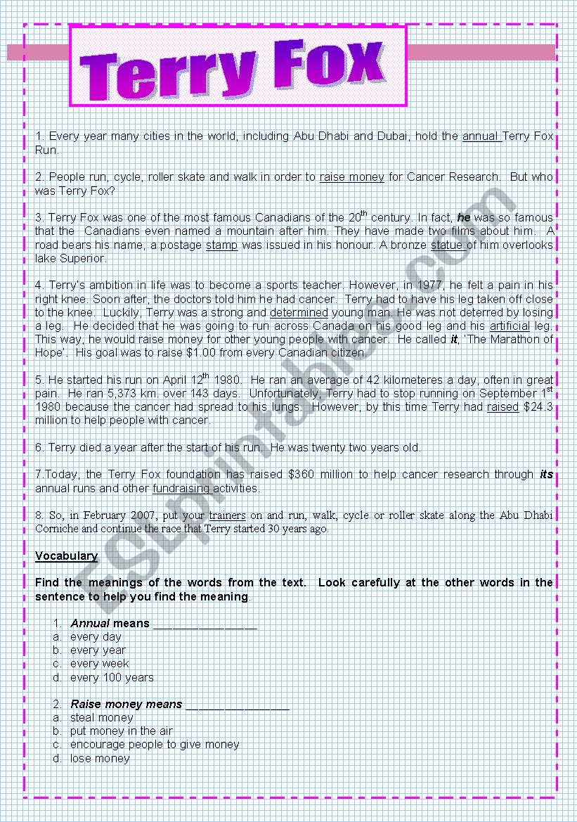Terry Fox ( test worksheet 4 ) - ESL worksheet by najeebs