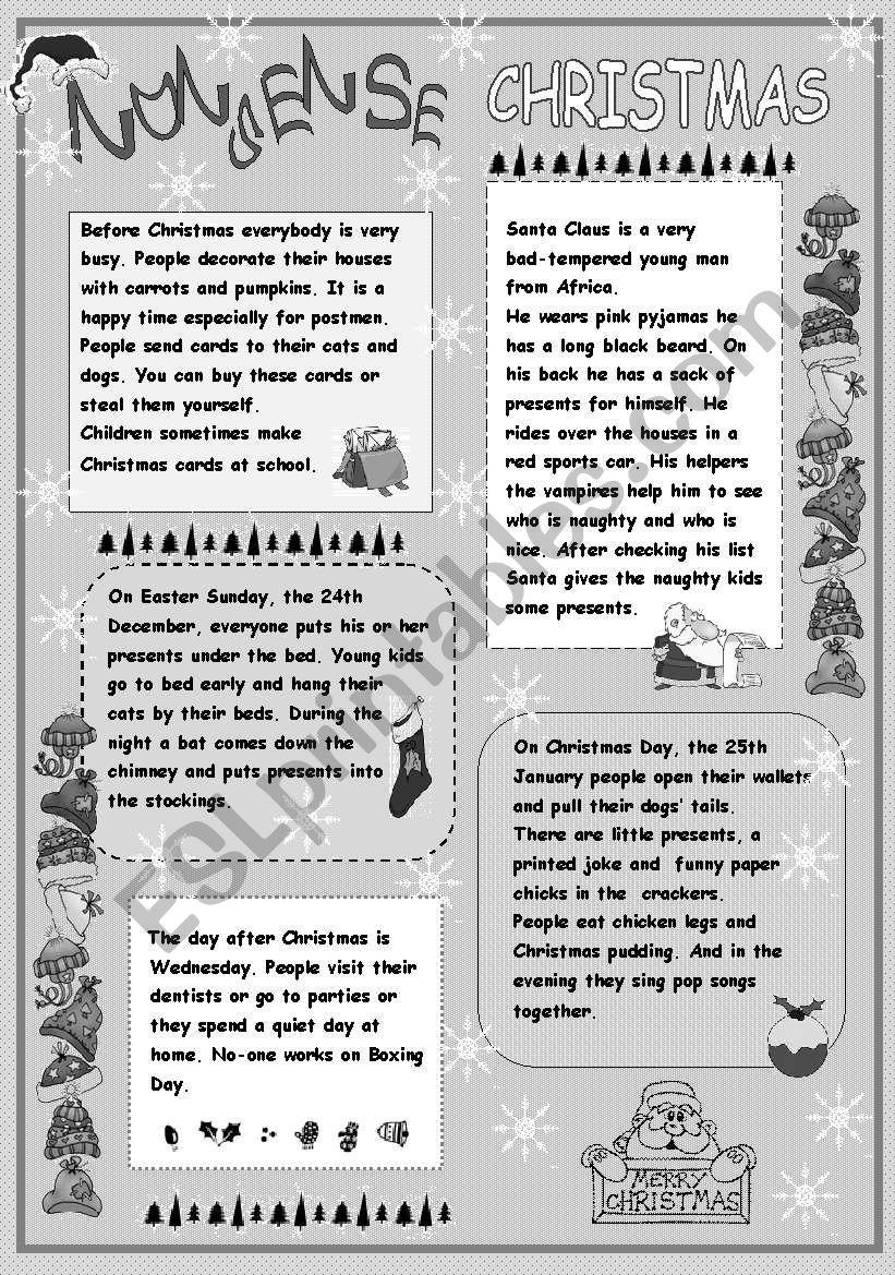Nonsense Christmas worksheet
