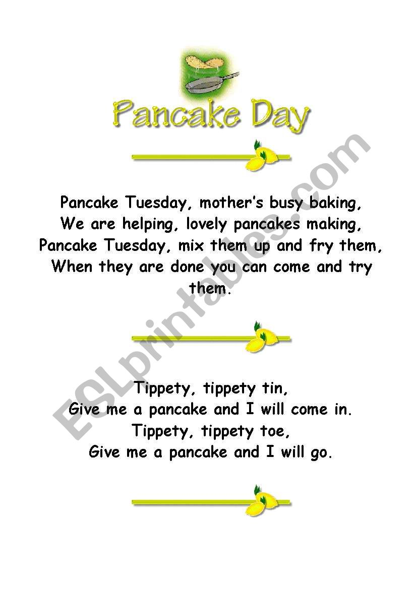 Pancake Poems worksheet