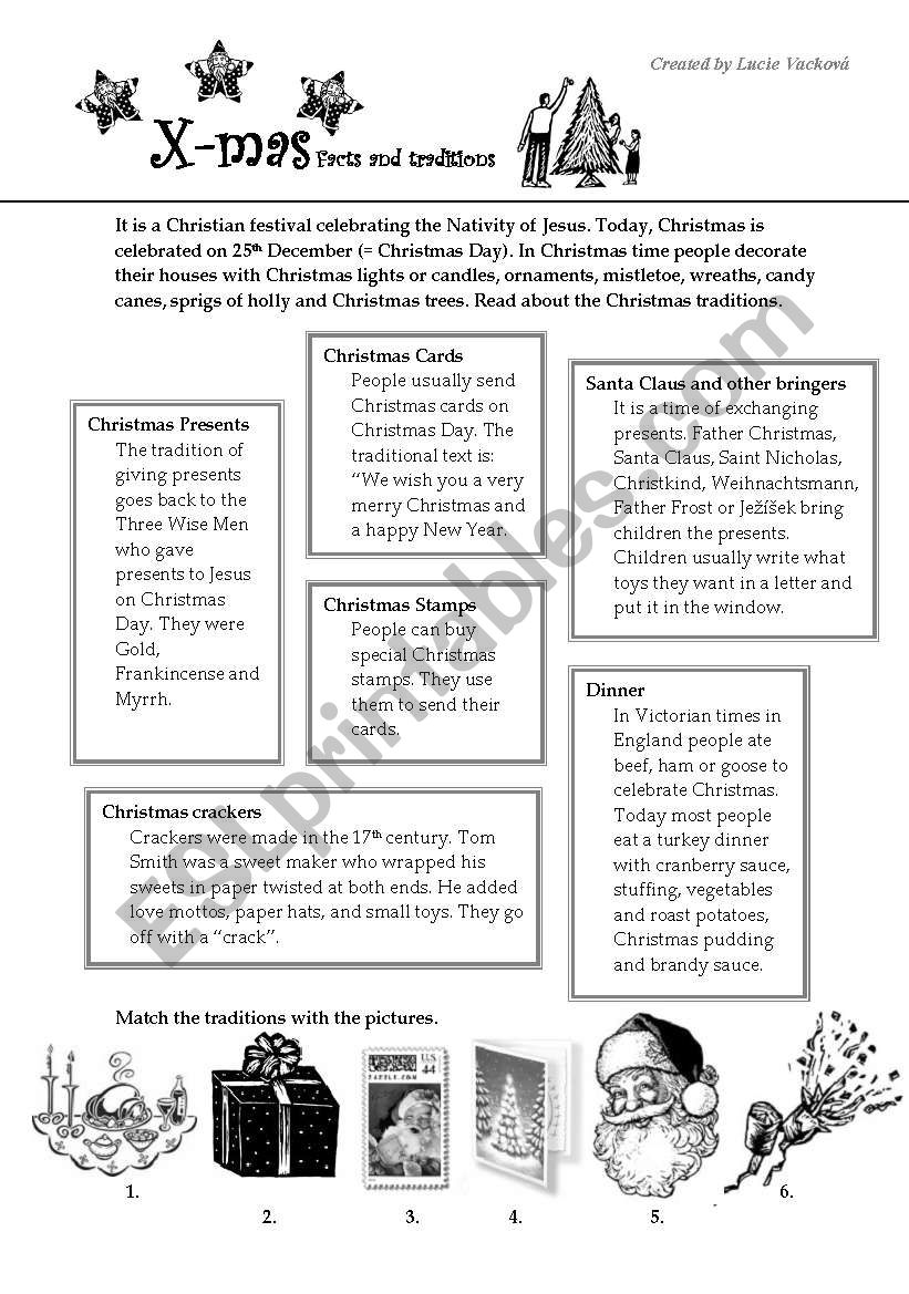Christmas traditions worksheet