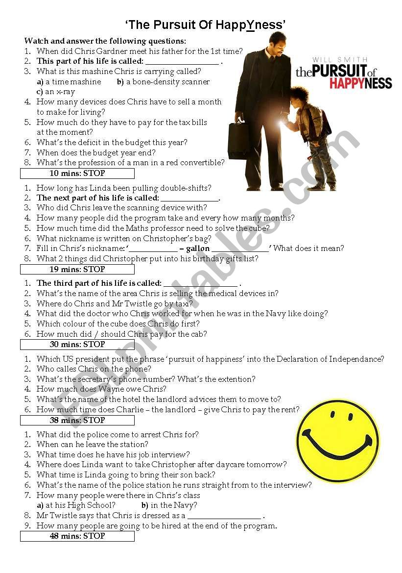 Movie Worksheet: Pursuit of HappYness - WITH KEY!!!