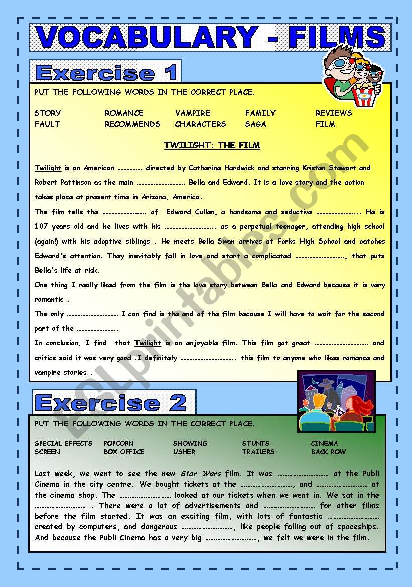 VOCABULARY : FILMS  worksheet