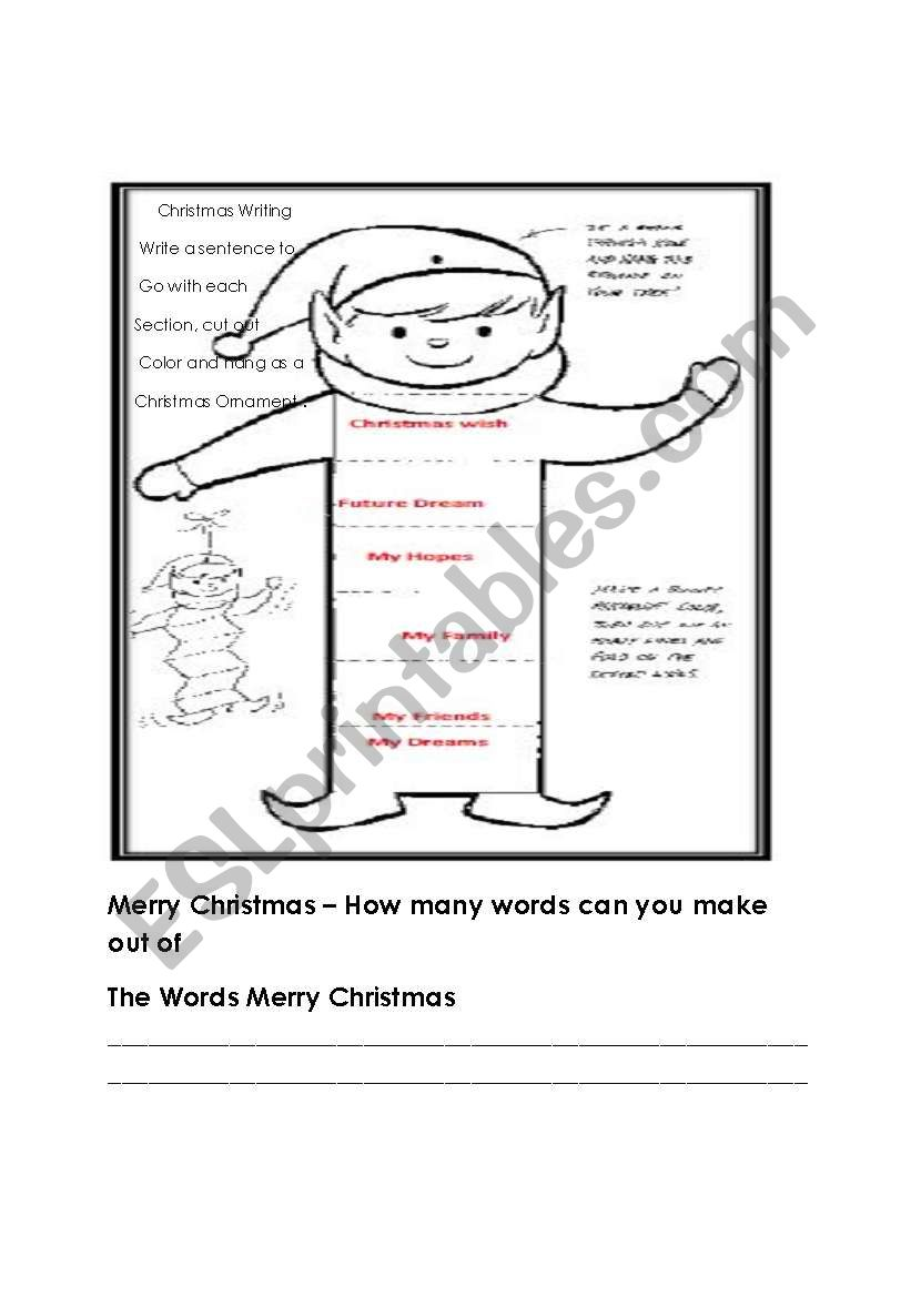 Christmas writing, Ornament and word find