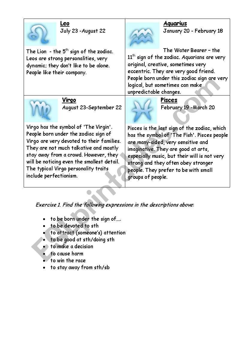 Zodiac Signs - ESL worksheet by Olga_spb
