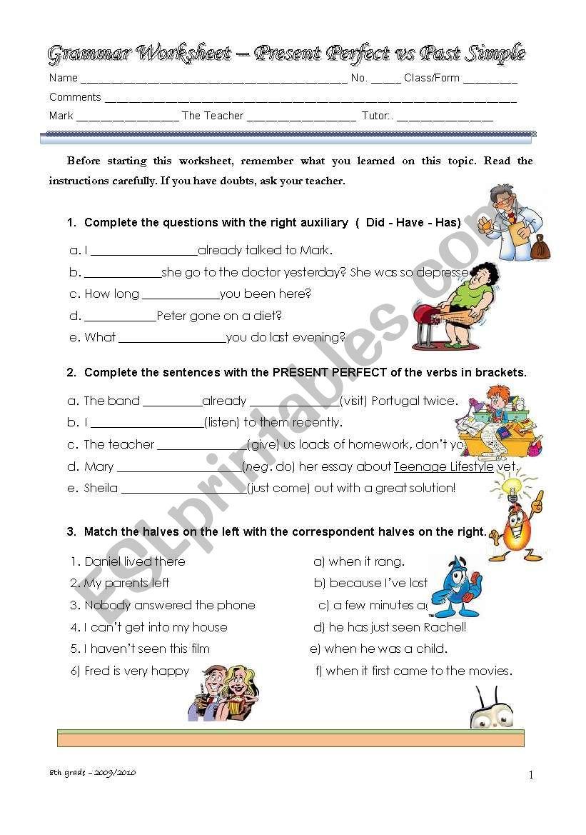 Present Perfect Vs Past Simple Esl Worksheet By Twinkerbell