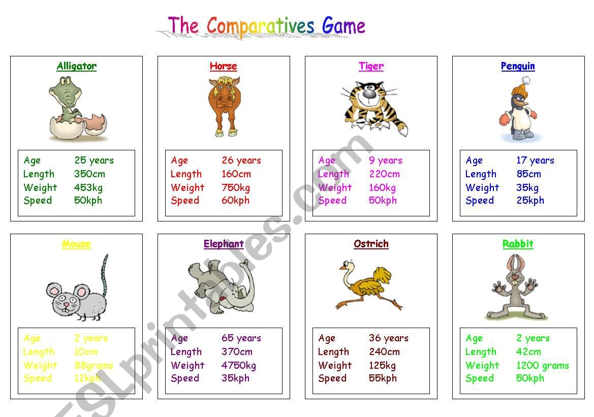 The Comparatives Game worksheet