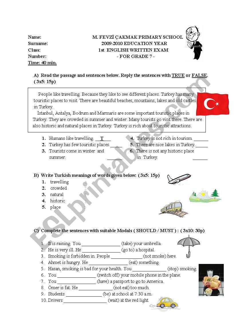 exam sample for 6-7th graders worksheet