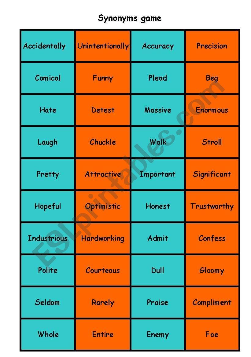 Synonyms matching game - ESL worksheet by Nicola5052