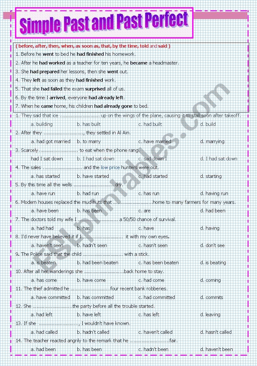 Simple Past and Past Perfect worksheet