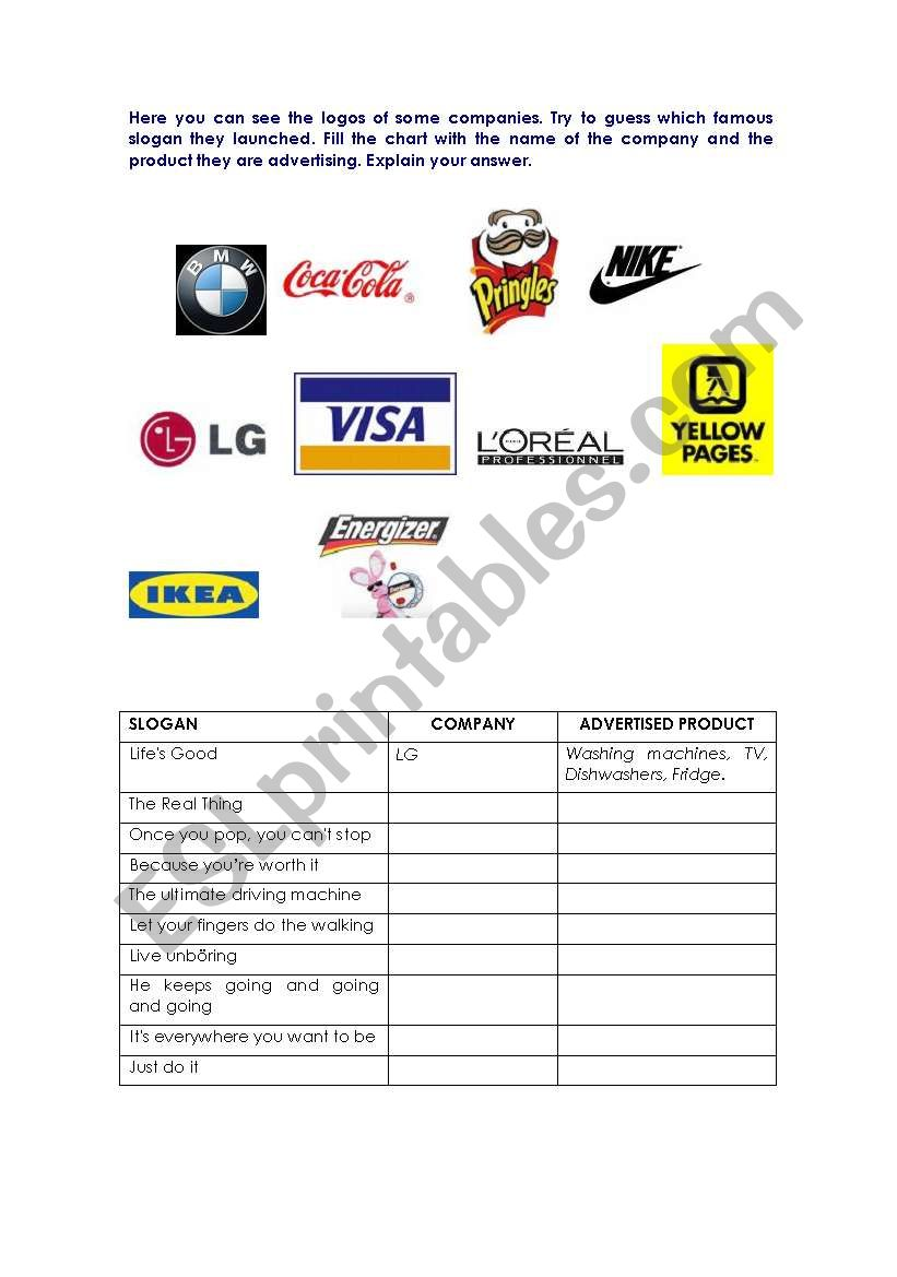 Slogans And Logos Esl Worksheet By Cladelol