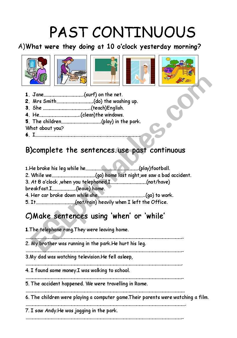 past continuous(2 pages) worksheet