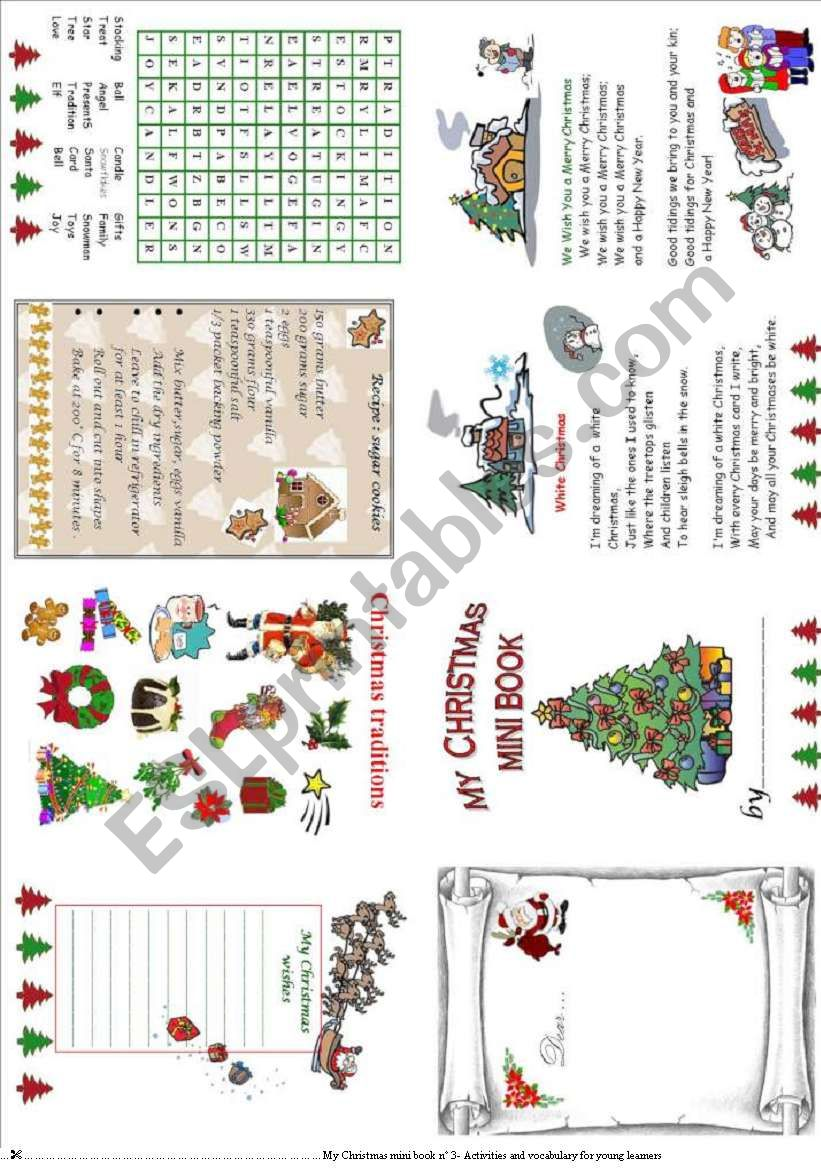 My Christmas mini book 3 worksheet