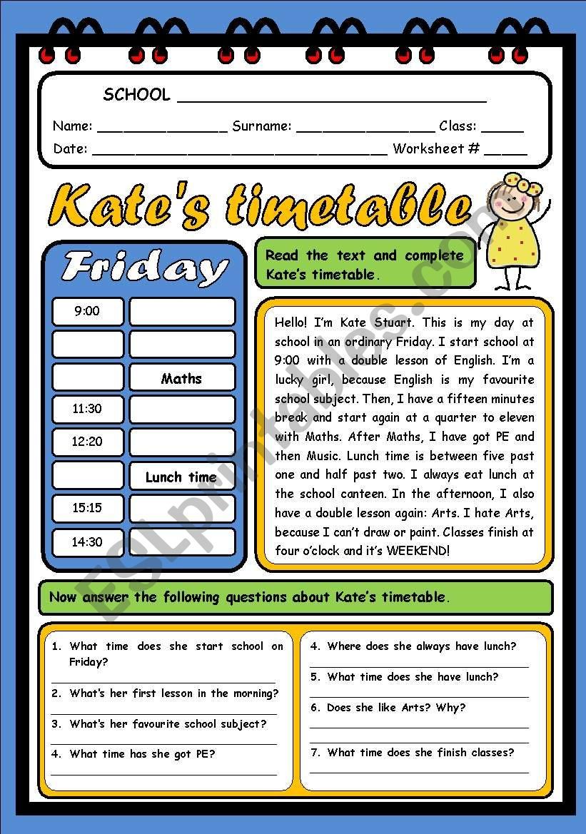 KATE´S TIMETABLE worksheet