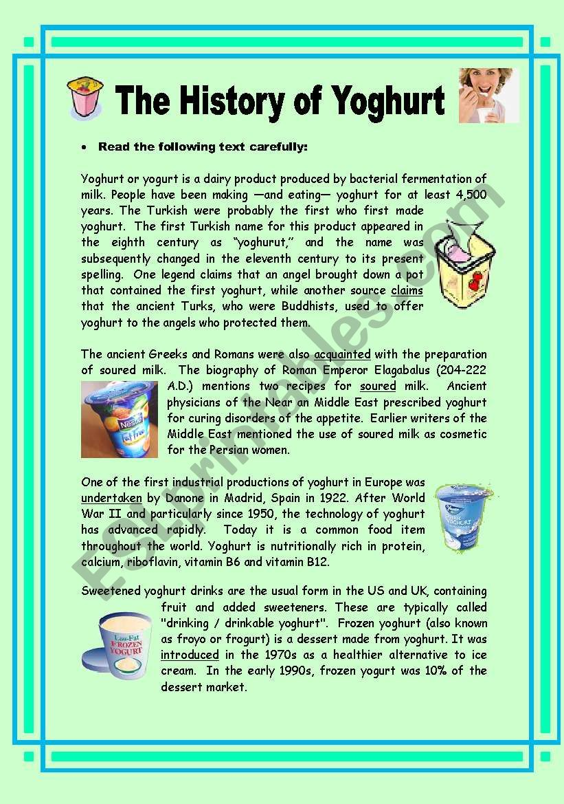 The History of Yoghurt - 2 pages + key