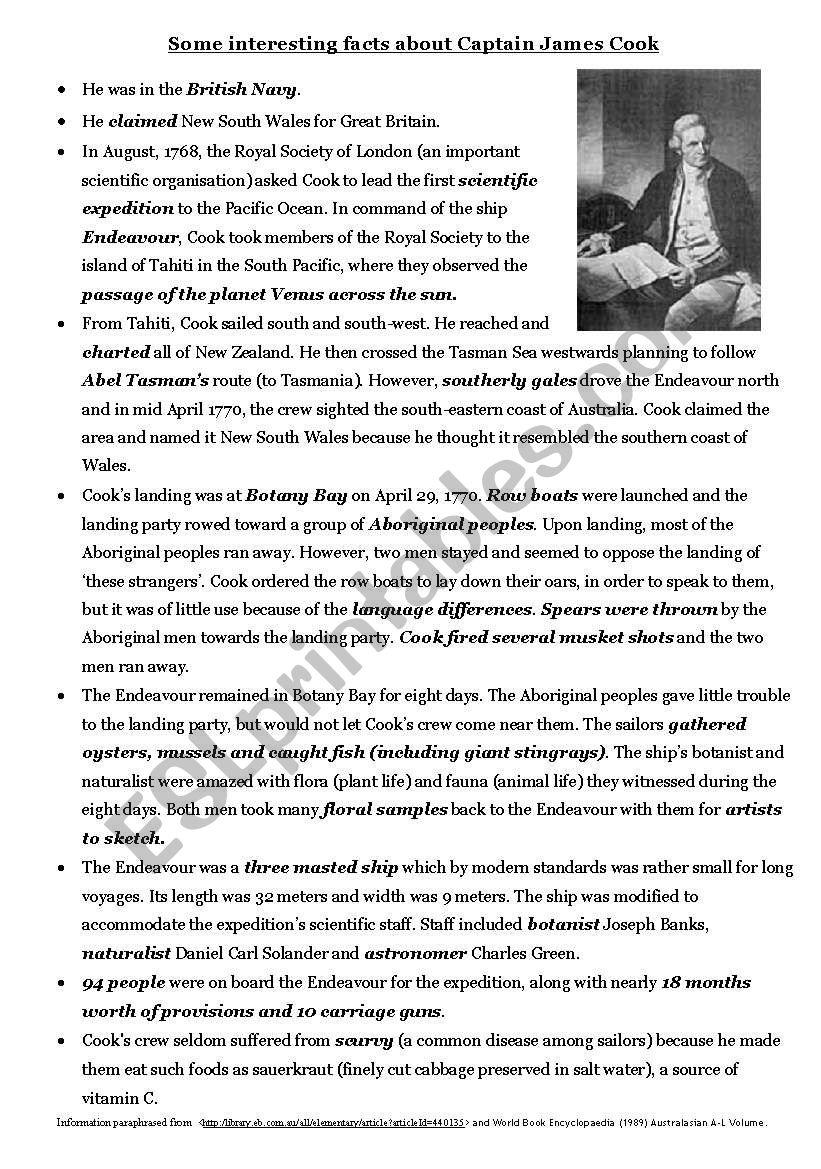 Captain Cook Overview Esl Worksheet By Dave