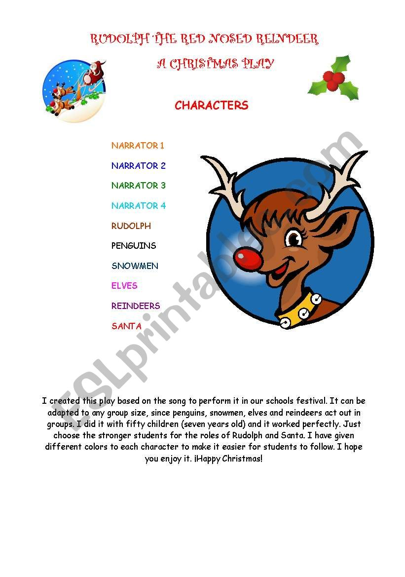 A Christmas Play Rudolph The Red Nosed Reindeer Esl Worksheet By Rofer