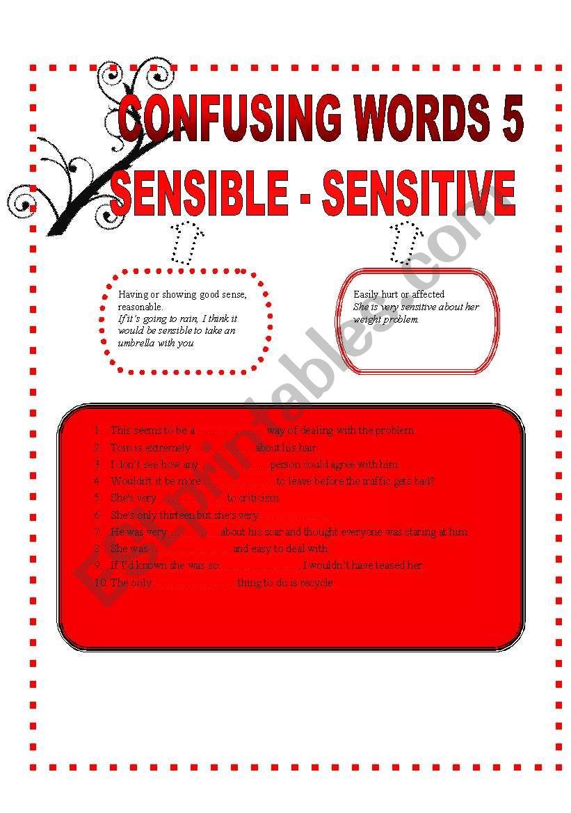 CONFUSING WORDS 5 - SENSIBLE-SENSITIVE-AFTER-AFTERWARDS