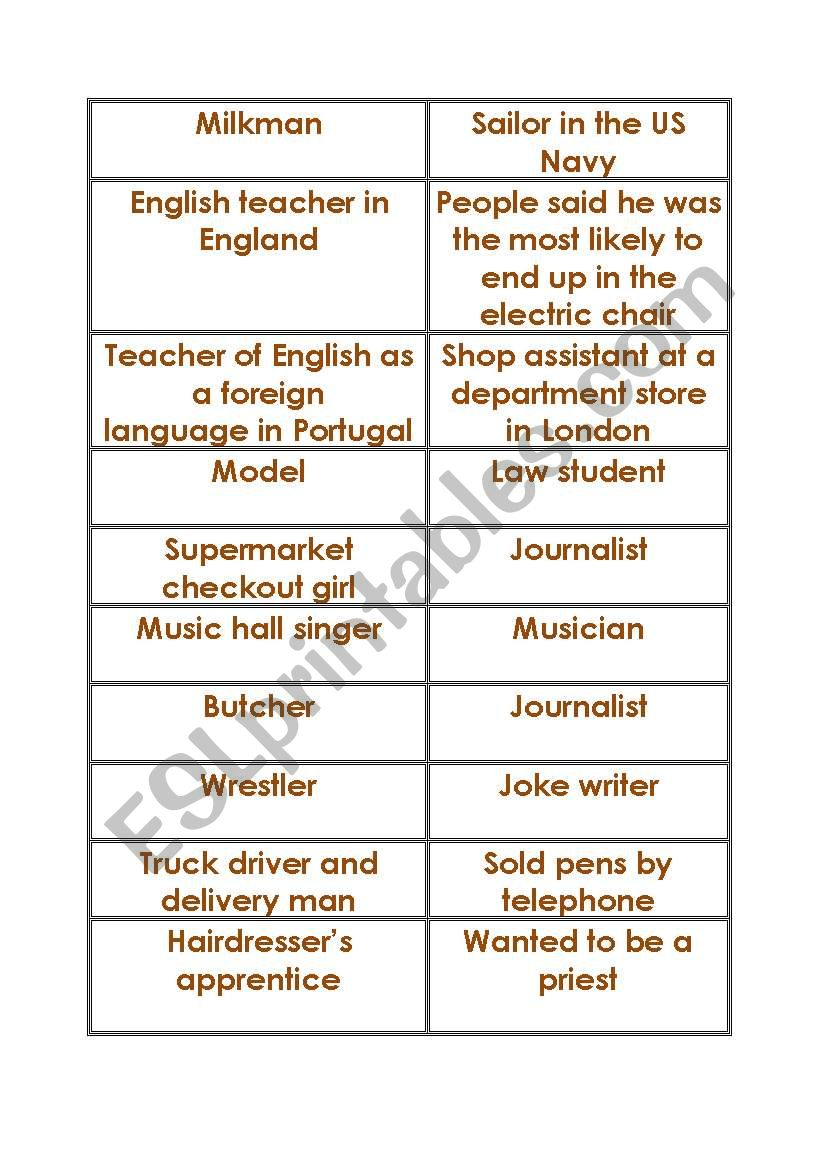 What did these famous people used to do? - ESL worksheet by Greenotter