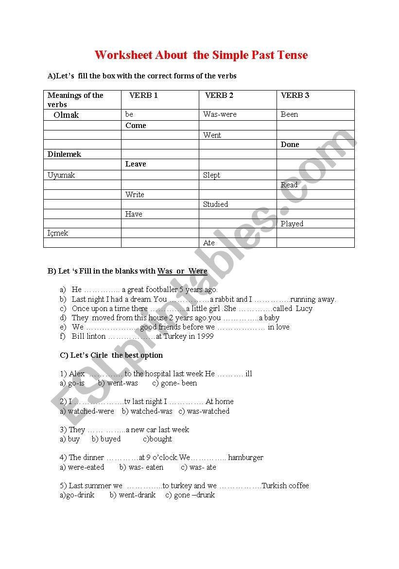 worksheet about simple past tense