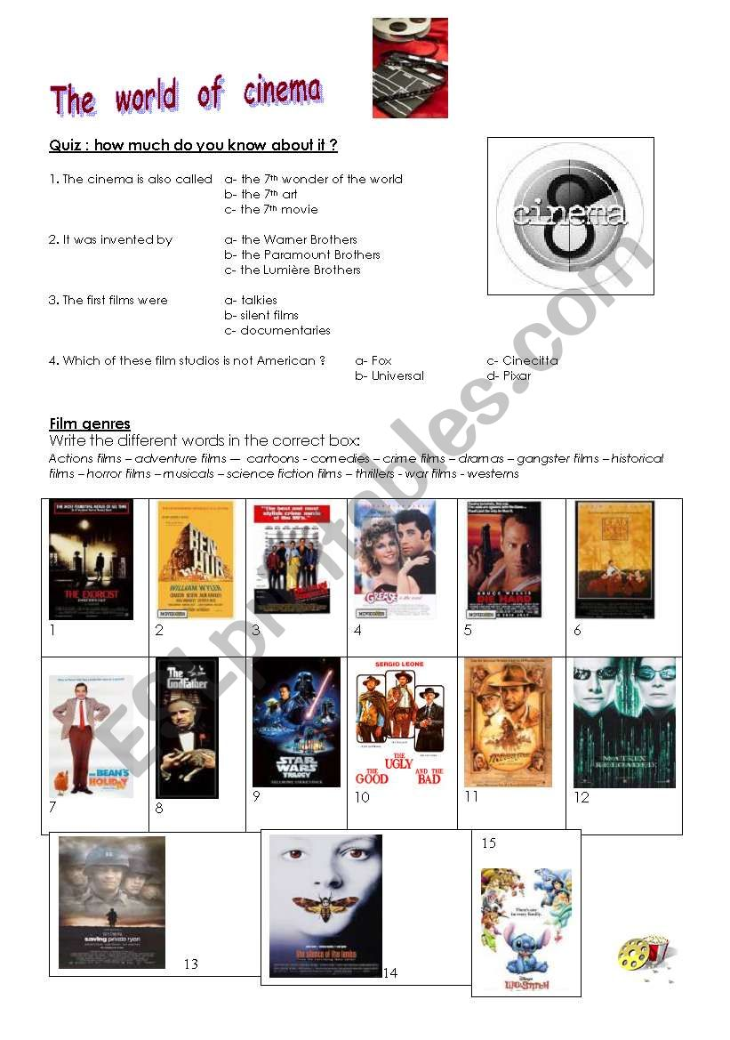The world of cinema worksheet