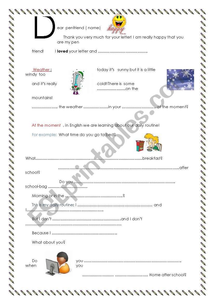 Dear penfriend n°2 worksheet