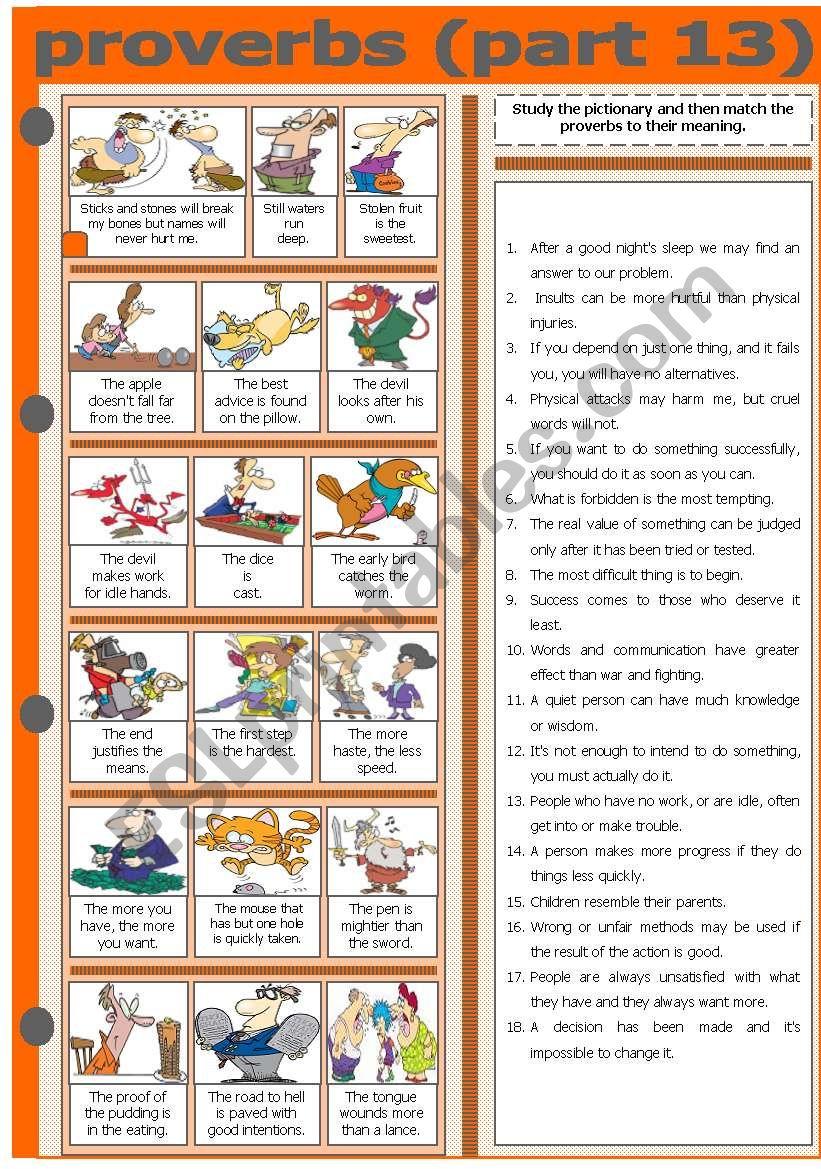 PROVERBS - PART 13 worksheet