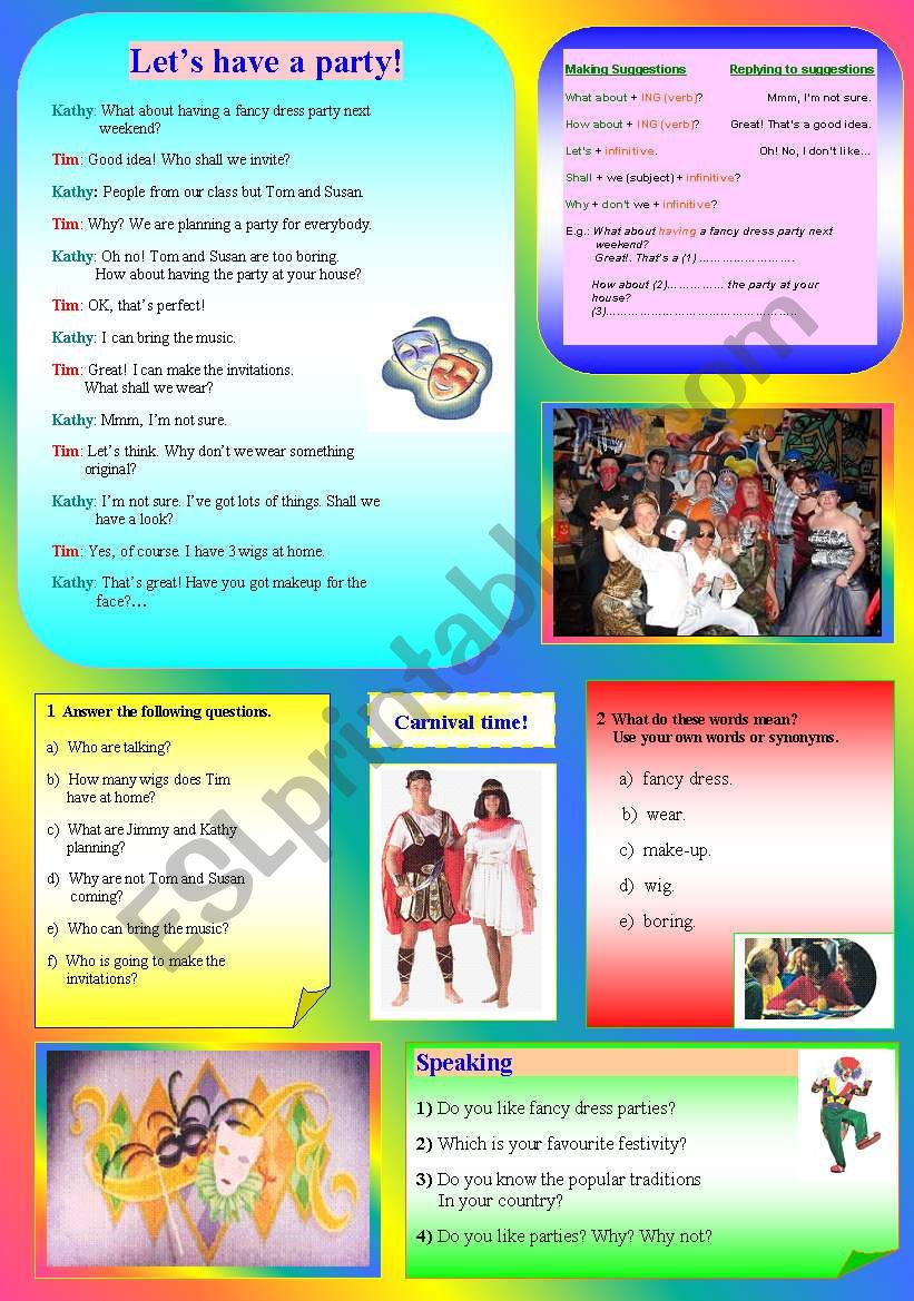Lets have a party!!! - ESL worksheet by adecbb1994