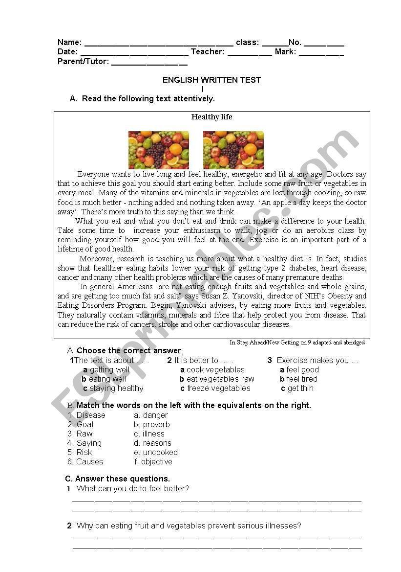 Test On Health Esl Worksheet By Luisa2008