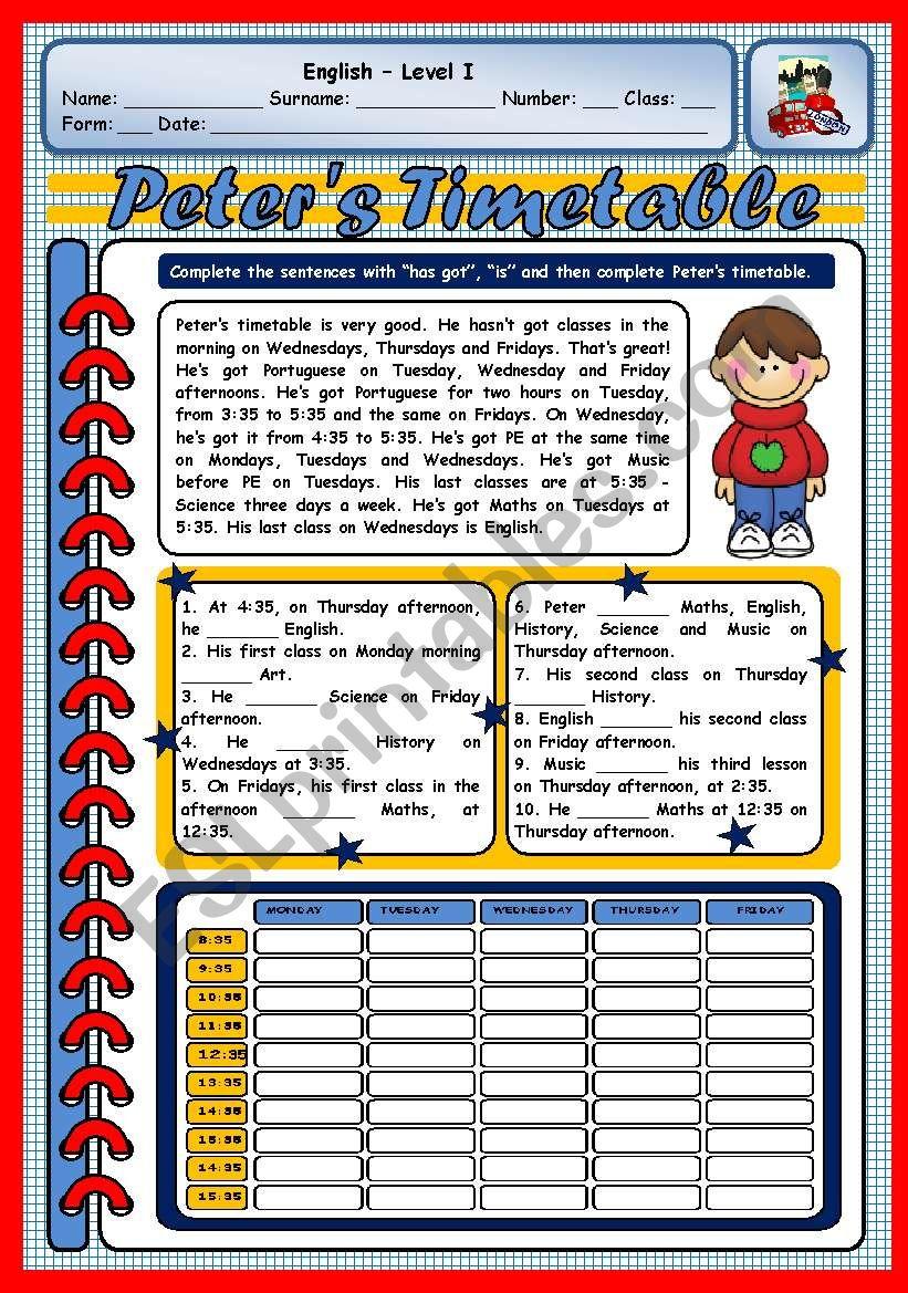 PETER´S TIMETABLE worksheet