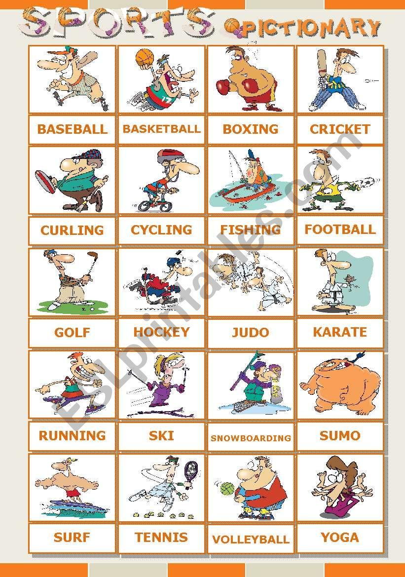 SPORTS pictionary worksheet