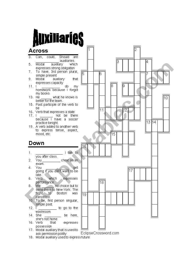 Modal auxiliaries Crossword worksheet