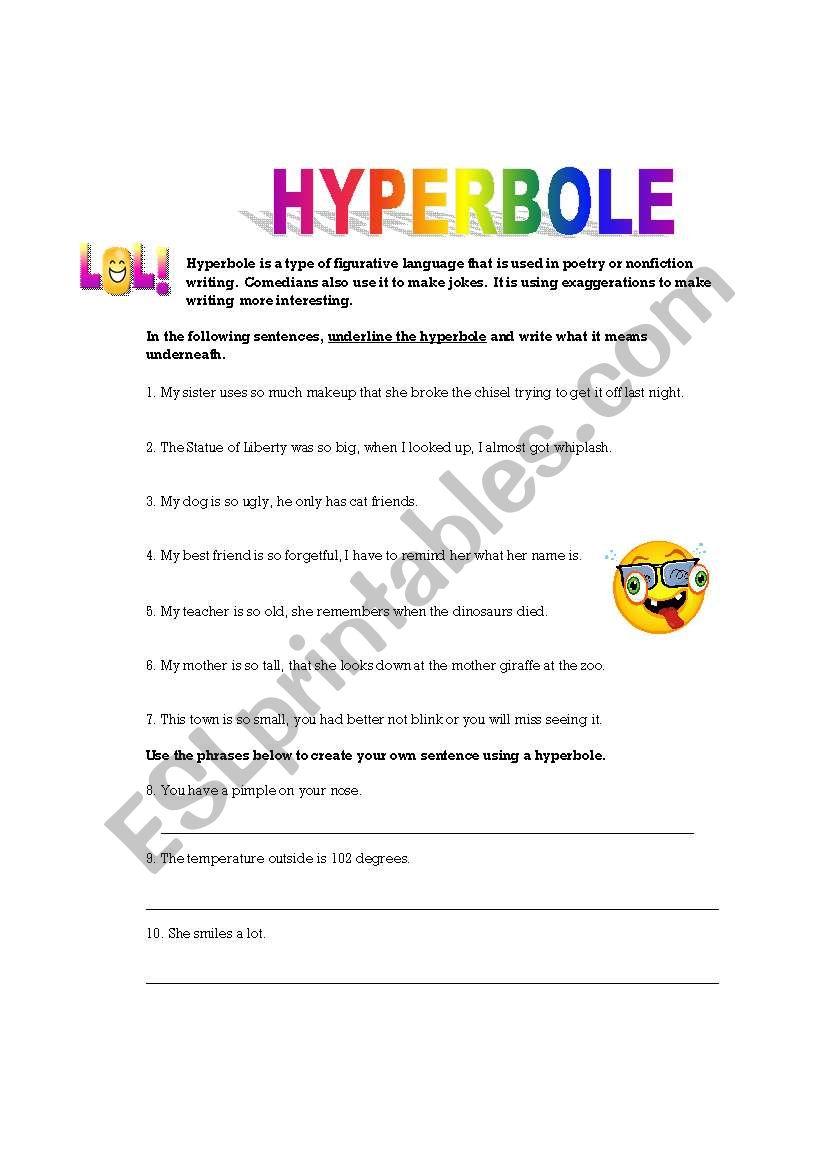 english worksheets  hyperbole practice