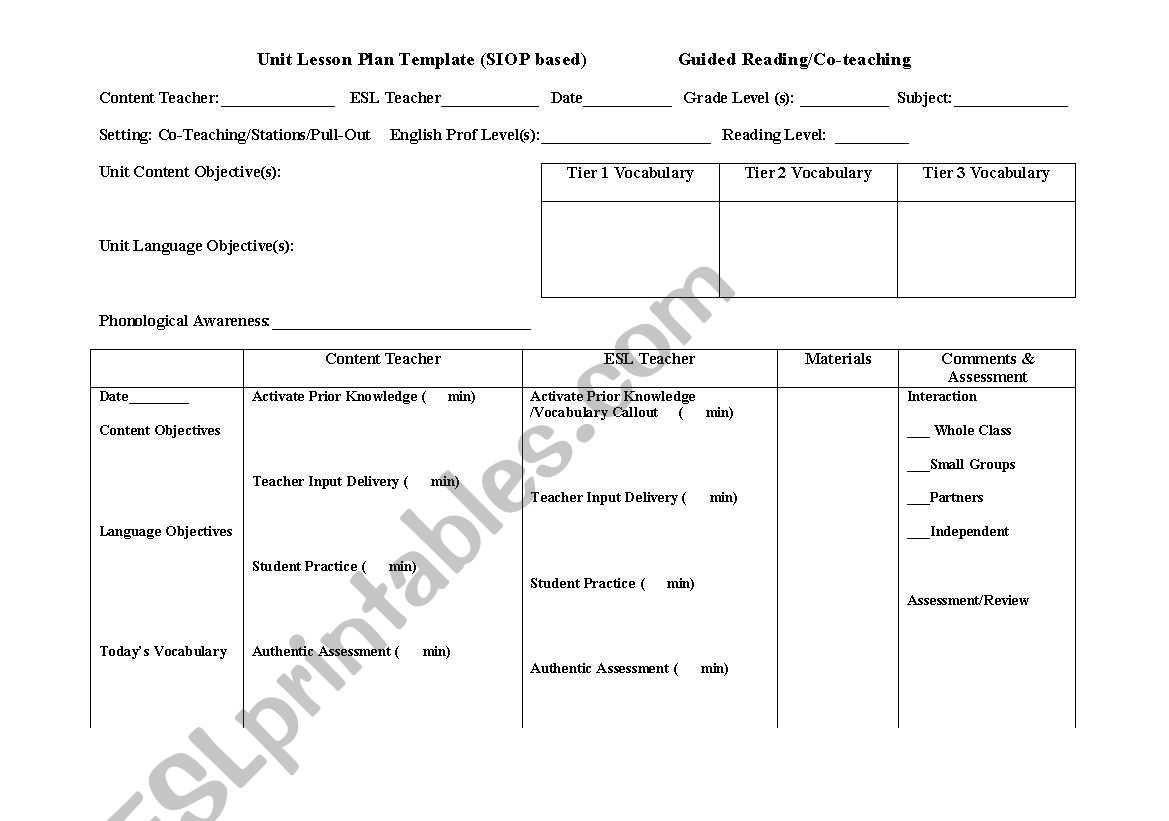 english worksheets  siop lesson plan template for co