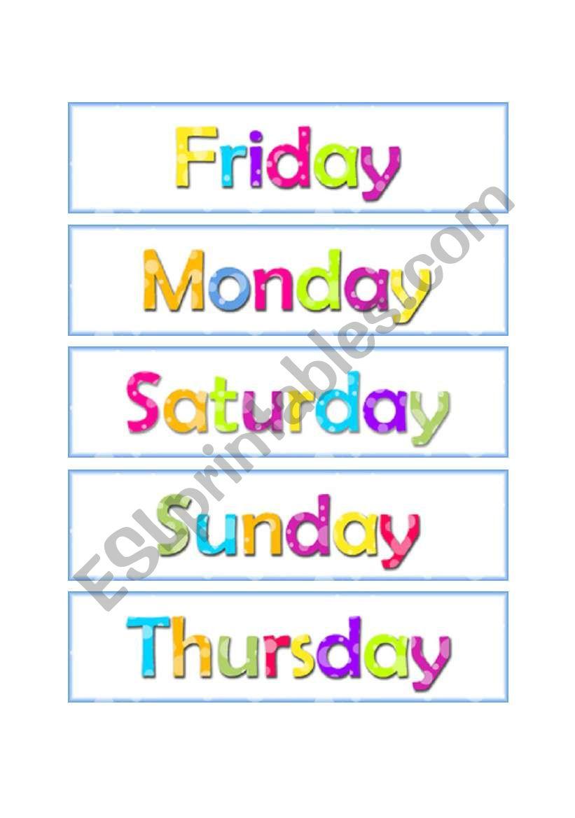Days of the week worksheets esl