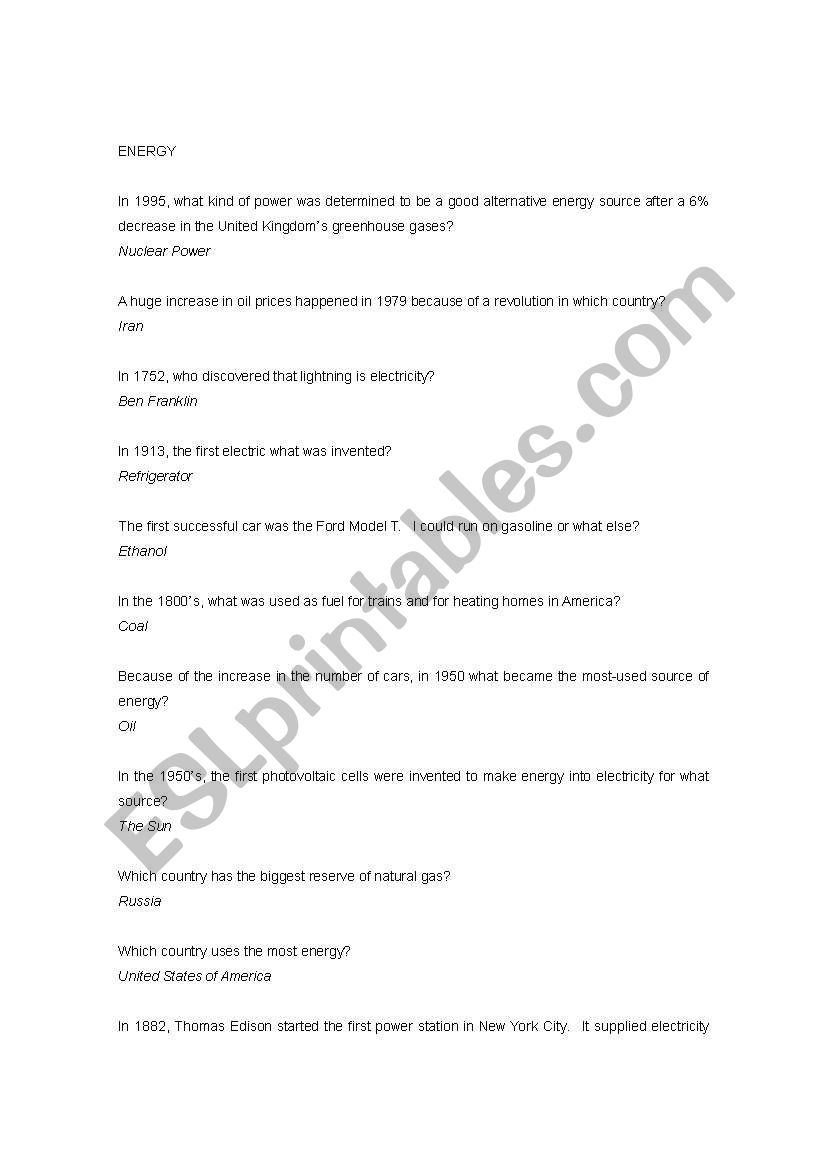 picture regarding 1950 Trivia Questions and Answers Printable named English worksheets: \