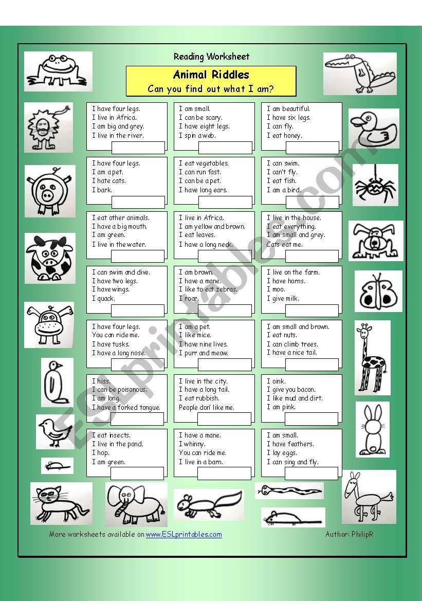 Animal Riddles 1 (Easy) worksheet