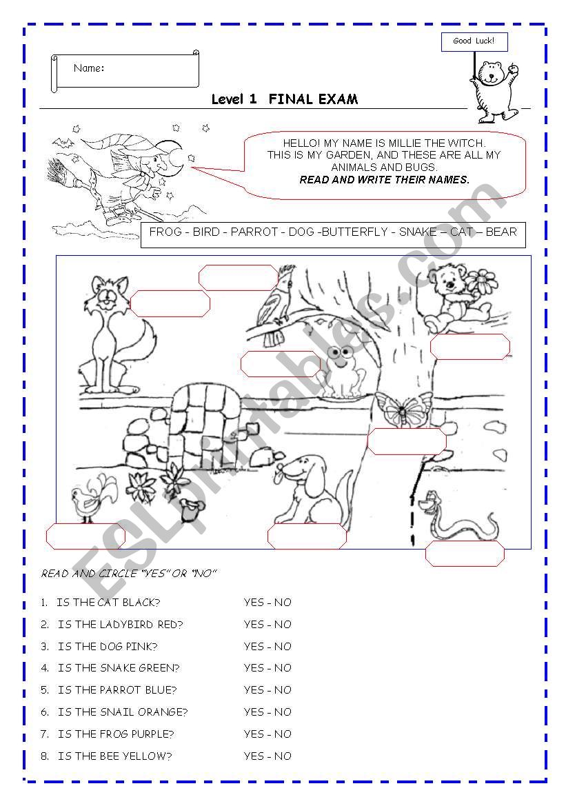 TEST - Final exam  for very young kids!!!  - 3 pages - EDITABLE - B&W
