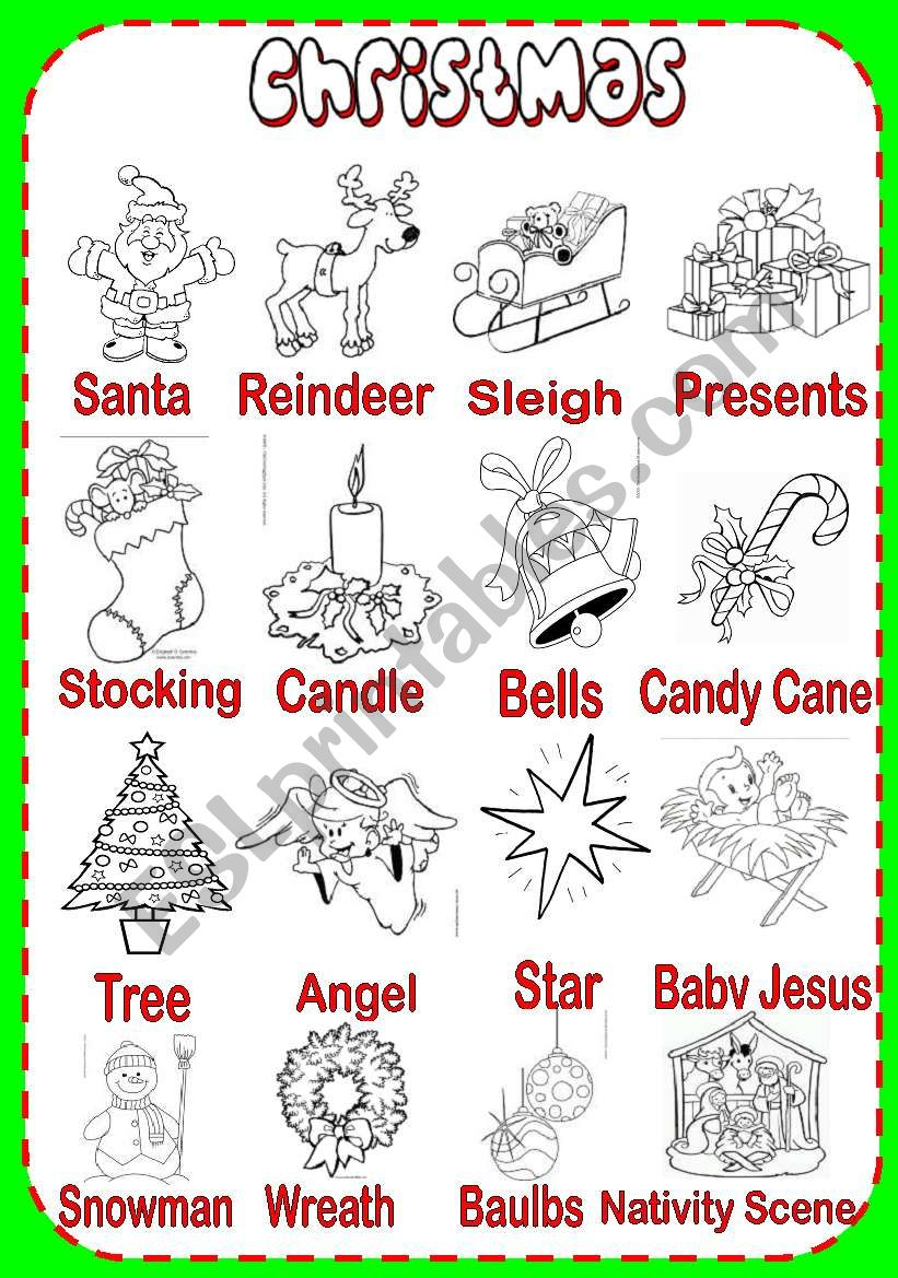 Christmas Pictionary , ESL worksheet by serennablack