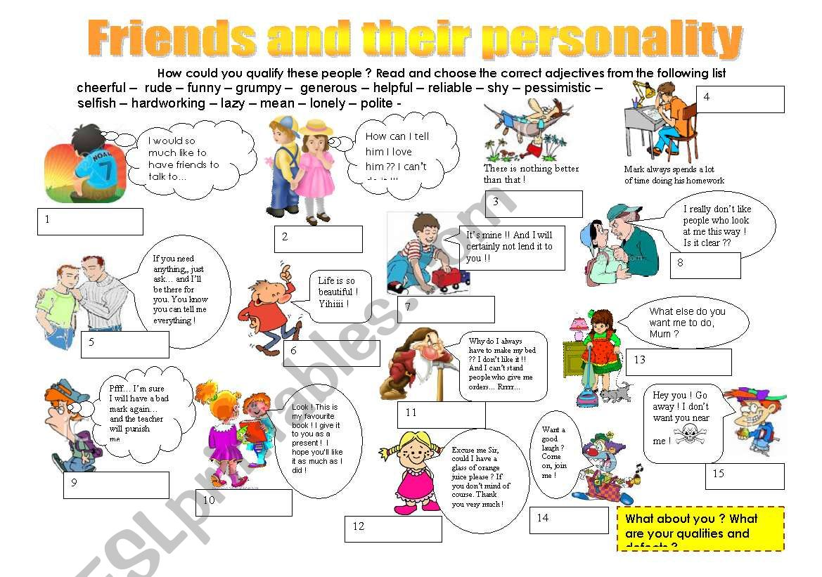 Friends and their personality worksheet