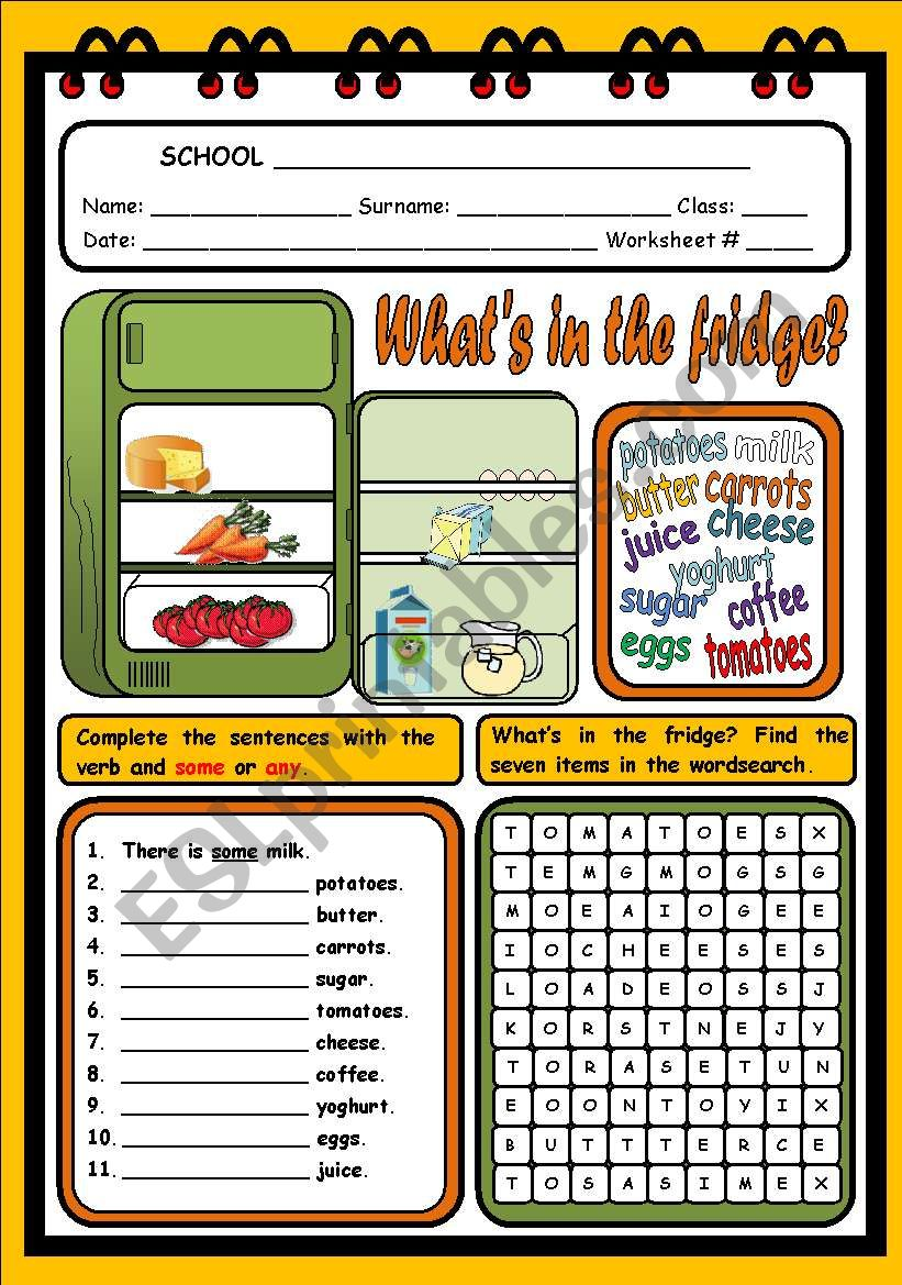 WHAT´S IN THE FRIDGE? worksheet